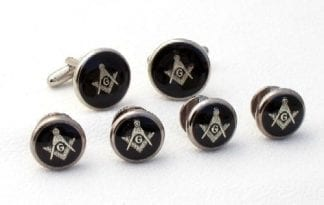 Masonic Studs Cufflinks Black Silver