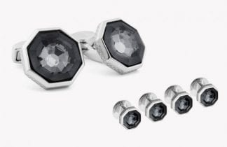 Knotted Silver Cuff Links and Studs Rhodium Plated Set