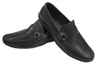 Black Leather Tuxedo Cap Toe Shoes by Giovanni