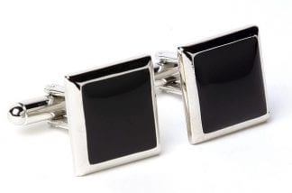 Square Cuff Links Faux Onyx Silver