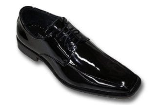 Tuxedo Shoes BLACK Satin Stripe Silver Tip Leather Shoes