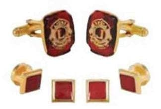 Knights of Columbus Insignia Cufflinks and Ruby Studs