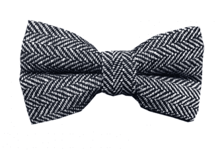Mens Rustic Tweed Pre-tied Bowtie Black and Grey