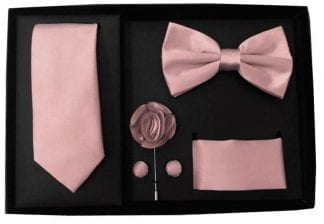 Mens Burbundy 5 Piece Gift Box Set Tie Bow-Tie Lapel Pin Handkerchief and Cufflinks