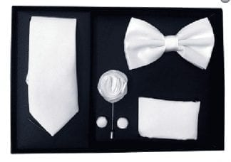 White 5 Piece Gift Set Tie Bowtie Lapel Pin Handkerchief and Cuff Links
