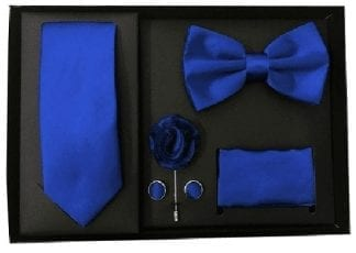 Royal Blue 5 Piece Gift Set Tie Bowtie Lapel Pin Handkerchief and Cuff Links