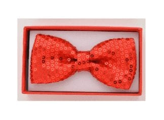 Sequin Bow Tie Red
