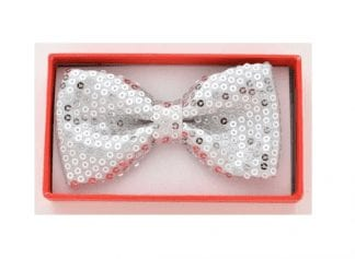 Polyester Metallic Lame Silver Bowtie with Pocket Square Set