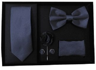 Navy Blue 5 Piece Gift Set Tie Bowtie Lapel Pin Handkerchief and Cuff Links