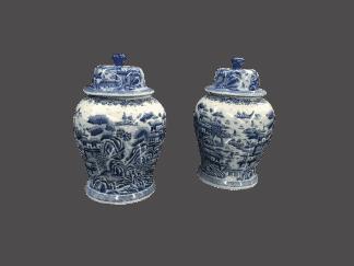 Blue and white ginger jars