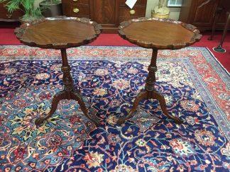 Carved Mahogany Pedestal End Tables