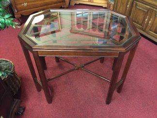 Mahogany Center Table with Glass Top