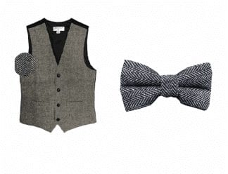 Tuxedo Vest Waffle Pique Silk with Matching Selftie Bow Tie
