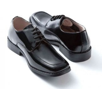 Tuxedo Shoes BOYS Black Slim Square Toe-Lace Up Shoes