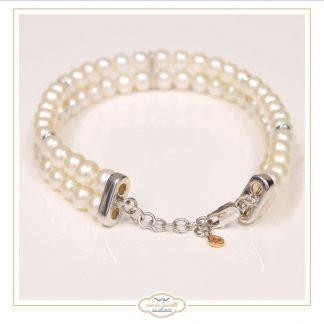 bracciale perle comete chiusura in oro bianco 750