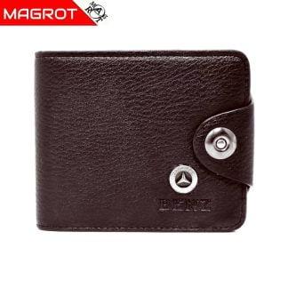 Portofel Mercedes-Benz barbatesc, maro inchis, din piele ec., Magrot 878