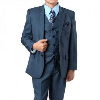 Boys Linen Checkered Suit Set For Children & Teens Including Sports Coat Pants Vest Shirt & Tie