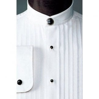 White Mandarin Pleated Shirt