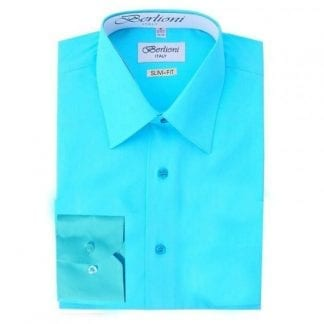 Royal Blue Slim Fit Dress Shirt Convertible French Cuff