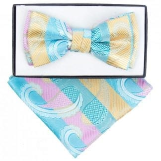 Boys Teal Paisley Pattern Bowtie and pocket square
