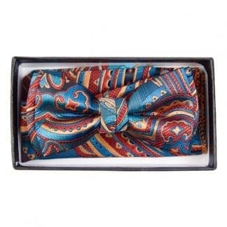 Boys Mint Paisley Pattern Bowtie and pocket square