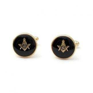 Masonic Cufflinks Black Background Gold