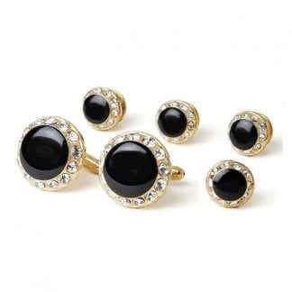 Studs Cuff Links Faux Onyx Crystal Gold