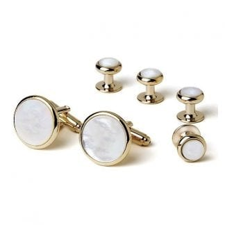 Cuff Links Studs Mother Of Pearl Round Gold