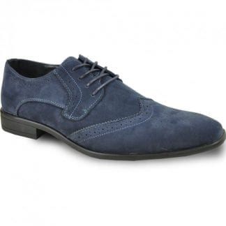 blue suede wingtip oxford shoe