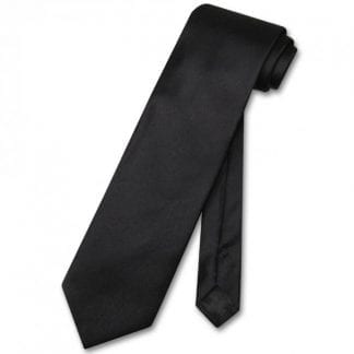 Black Satin Long Tie Self Tie