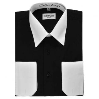 White Collar And Cuff Dress Men's Coverable Cuff Shirt Takes Cuff Links Shirt