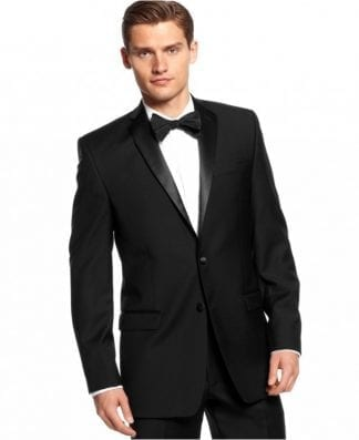 Mens Calvin Klein Slim Fit Wool Tuxedo package with Silk cummerbund -Wedding- Prom