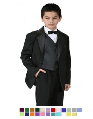 Boys Suit BLACK Baby Toddler Children Teen Suit Any Color Tie