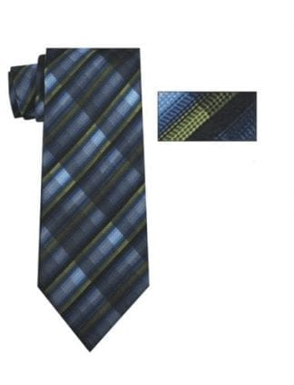Turquoise Black and Gray Stripe Necktie