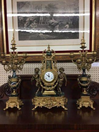 clock and candelabra set