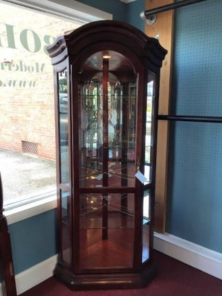 Lighted Corner Curio Cabinets ($485 each)