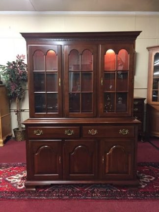 Colonial Cherry Lighted China Cabinet