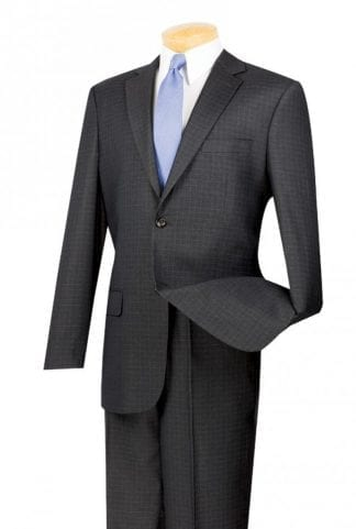 Gray Slim Fit Suits Two Button Notch Lapel Microfiber