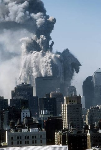 Photo of the violent disintegration of the North Tower
