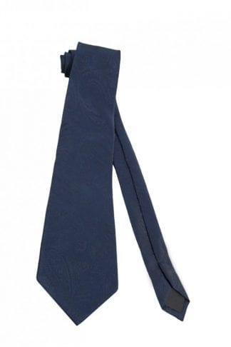 Navy Blue Satin Long Tie Self Tie