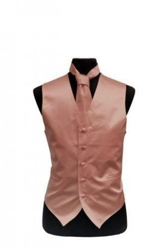 Rose Gold Tuxedo Vest With Tie