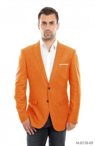 Mens Ivory Linen Sports Coat Peak Lapel- Coat Only