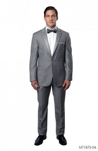 Tuxedo Light Grey High Fashion Framed Peak Lapel Satin-Prom 2019