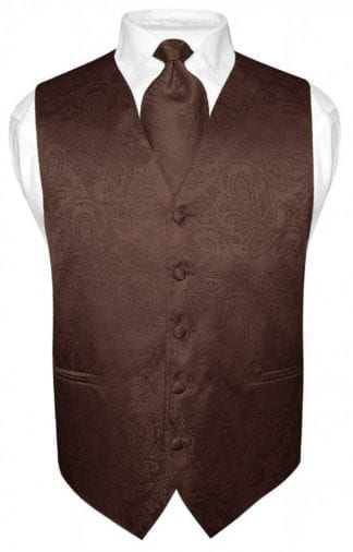 Brown Paisley Vest With Tie