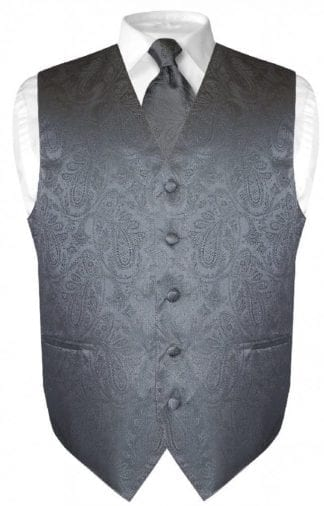 Charcoal Grey Paisley Vest With Tie