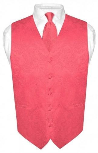 Coral Paisley Vest Men's With Tie