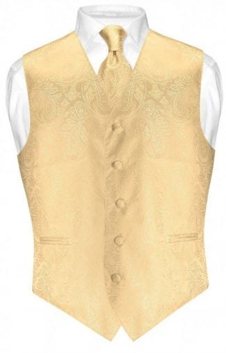 Gold Paisley Vest With Tie