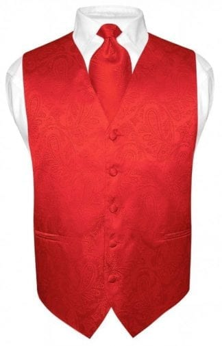 Men's Paisley Vest Red With Tie