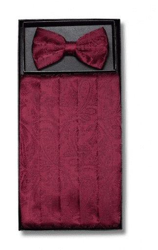 Mens Peach Paisley Pattern Cummerbund and Bowtie Set with Self tie Bowtie Option