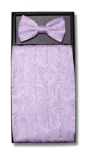 Mens Silver Paisley Pattern Cummerbund and Bowtie Set with Self tie Bowtie Option
